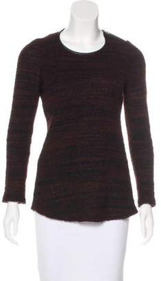Etoile Isabel Marant Leather-Trimmed Mélange Sweater