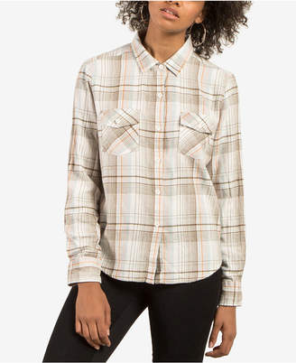 Volcom Juniors' New Flame Plaid Button-Front Shirt