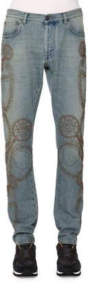 Valentino Embroidered Five-Pocket Denim Jeans, Light Blue