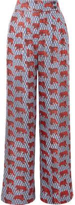 J.Crew Frankie Printed Silk-twill Wide-leg Pants - Blue