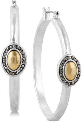 Lucky Brand Two-Tone Crystal Hoop Earrings
