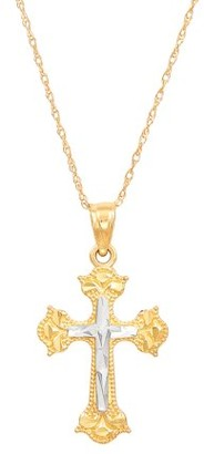 """Brilliance+ Brilliance Fine Jewelry 10kt Yellow Gold Cross Pendant with Rhodium, 18"""" Necklace"""