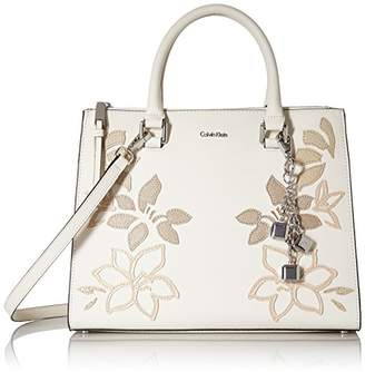 Calvin Klein Logan Saffiano Leather Floral Applique Satchel