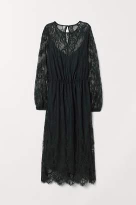 H&M Calf-length Lace Dress - Green