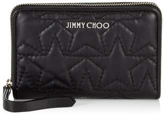 Jimmy Choo HALLEY Black and Silver Nappa Leather Zip Around Wallet