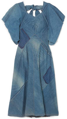 Junya Watanabe Bow-detailed Patchwork Denim Midi Dress - Mid denim