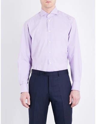 Eton Gingham checked contemporary-fit cotton shirt