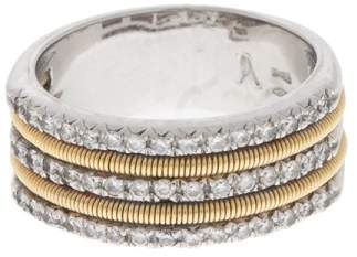 Marco Bicego 18k White and Yellow Gold 3 Row Diamond Ring