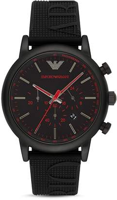 Emporio Armani Chronograph Black Silicone Watch, 28 mm