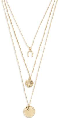 Forever 21 Layered Coin Charm Necklace