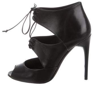 Tom Ford Lace-Up Peep-Toe Booties