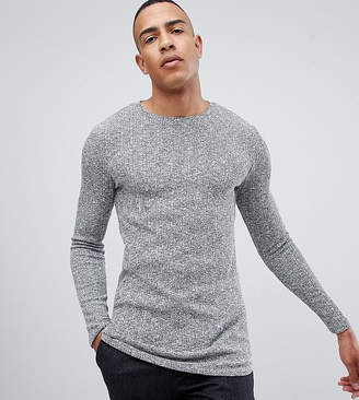 Asos DESIGN Tall longline muscle fit long sleeve t-shirt with curved bound hem in twisted rib fabric