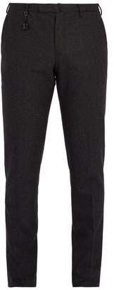 Incotex Slim Leg Wool Trousers - Mens - Charcoal