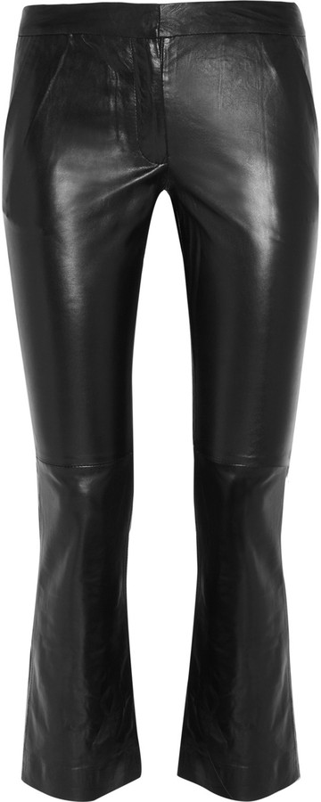 Maje Hiboux cropped leather pants