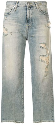 R 13 Cheryl ripped cropped jeans