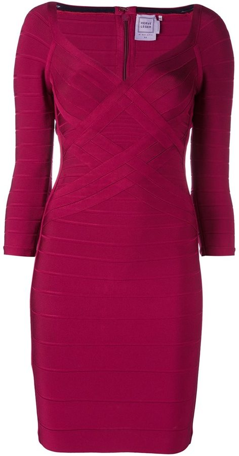 Herve Leger woven effect fitted dress