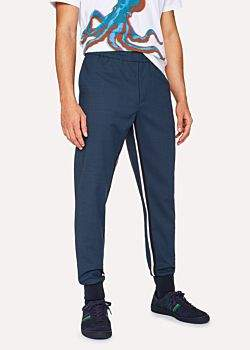 Paul Smith Men's Indigo Wool-Blend Casual Trousers With Stripe Detail
