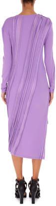 Neiman Marcus Atlein Asymmetric Long-Sleeve Ribbed Midi Dress