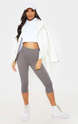 PrettyLittleThing Charcoal Harlie Cropped Ribbed High Waisted Leggings