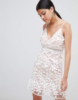 Love Triangle 3D applique dress with peplum hem
