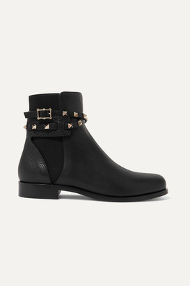 Valentino Garavani Rockstud Textured-leather Chelsea Boots - Black