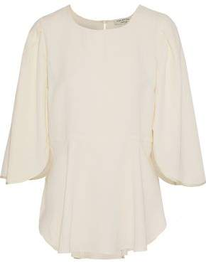 Halston Fluted Crepe De Chine Blouse