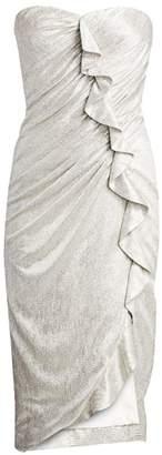 Jonathan Simkhai Plisse Lame Ruffled Bustier Dress