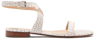 Emme Parsons Siena Crocodile Embossed Leather Sandals - Womens - White