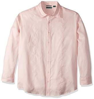 Cubavera Men's Long Sleeve 100% Linen Essential Shirt with Pintuck Detail