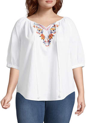 ST. JOHN'S BAY 3/4 Sleeve Embroidered Boho Blouse - Plus