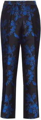 Stella McCartney Floral-brocade cropped trousers