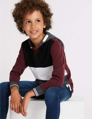 Marks and Spencer Pure Cotton Colour Block Rugby Top (3-16 Years)
