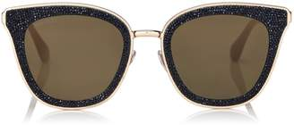 Jimmy Choo LIZZY Black and Gold Cat-Eye Sunglasses with Crystal Detailing