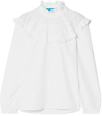MiH Jeans Emmanuelle Ruffled Swiss-dot Cotton-blend Blouse - White