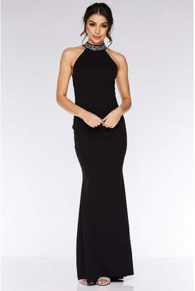 Quiz Black Embellished Back Fishtail Maxi Dress