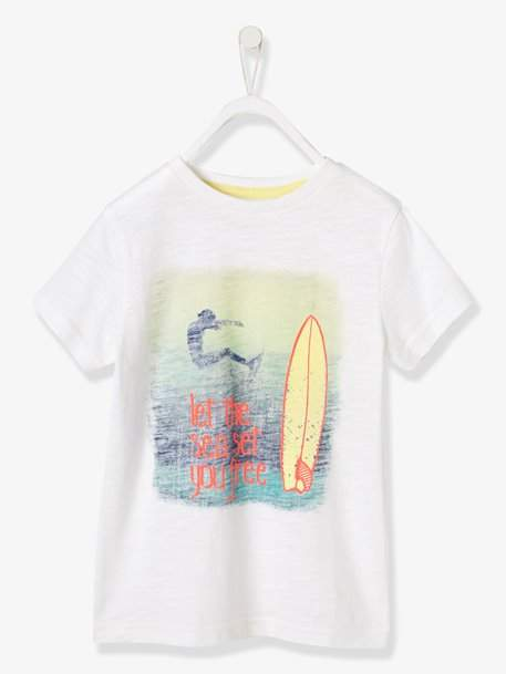 Boys' T-Shirt, Surf Photoprint - white light solid with design