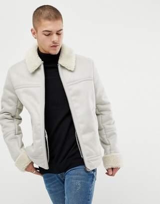 Asos Design DESIGN faux shearling jacket in stone