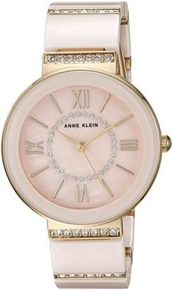 Anne Klein Women's AK/2832LPGB Swarovski Crystal Accented Gold-Tone and Light Pink Ceramic Bracelet Watch