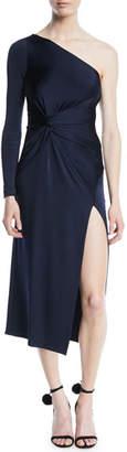 Cushnie et Ochs One-Shoulder Gathered-Waist Slit Fitted Jersey Midi Cocktail Dress