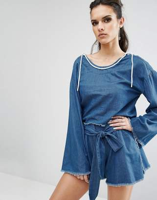 KENDALL + KYLIE Frayed Chambray Pullover Top