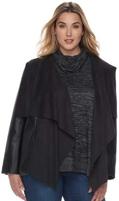 Apt. 9 Plus Size Suede Faux Leather Cascade Pullover Jacket