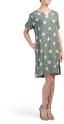 Made In Italy Linen Star Print Linen Dress