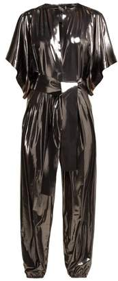 Norma Kamali Kimono Sleeve Metallic Lame Jumpsuit - Womens - Silver