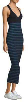 Opening Ceremony Striped Ribbed Knit Dress