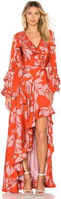 PatBO Leaf Print Ruffle Sleeve Maxi Dress