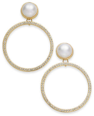 "INC International Concepts I.n.c. Extra Large 2.25"" Gold-Tone Pave & Imitation Pearl Drop Hoop Earrings"