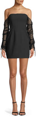 Cinq à Sept Anastasia Off-the-Shoulder Long-Sleeve Mini Cocktail Dress