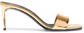 Stella McCartney Faux Mirrored-leather Mules - Gold