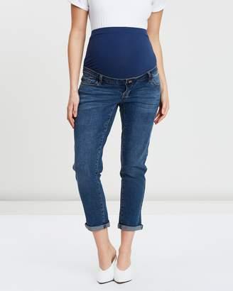 Mid-Wash Boyfriend Jeans