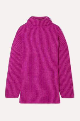 Acne Studios Disa Oversized Ribbed Mélange Wool Turtleneck Sweater - Magenta